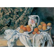 Cezanne - Still Life with Curtain and Flowered Pitcher