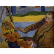 Gaugain - Portrait of Vincent van Gogh Painting Sunflowers