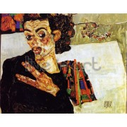 Schiele - Self Portrait with Black Vase and Spread Fingers